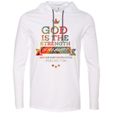 "Bible Verse Men Long Sleeve T-Shirt Hoodie - ""Psalm 73:26"" Design 8 - Meditate Healing Christian Store"