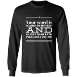 "Bible Verse Long Shirt Ultra Cotton T-Shirt - ""Psalm 119:105"" Design 10 (White Font) - Meditate Healing Christian Store"