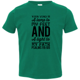 "Bible Verse Toddler Jersey T-Shirt - ""Psalm 119:105"" Design 3 (Black Font) - Meditate Healing Christian Store"