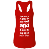 "Bible Verse Ladies Ideal Racerback Tank - ""Psalm 119:105"" Design 6 (White Font) - Meditate Healing Christian Store"