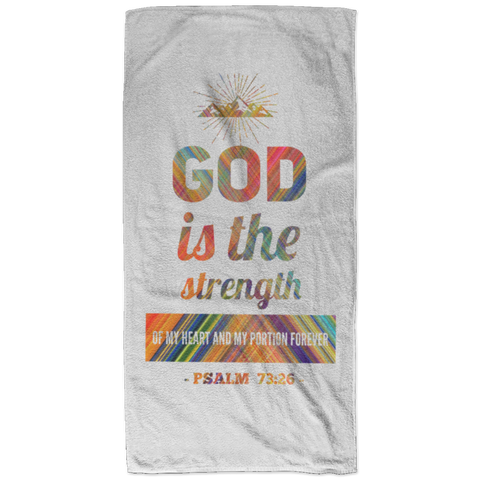 Bible Verses Bath Towel 32x64 - Psalm 73:26 (Design 2) - Meditate Healing Christian Store