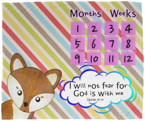 Cozy Plush Baby Milestone Blanket - God Is With Me ~Isaiah 41:10~ (Design: Fox)