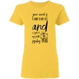 "Bible Verse Ladies' 5.3 oz. T-Shirt - ""Psalm 119:105"" Design 18 (Black Font) - Meditate Healing Christian Store"