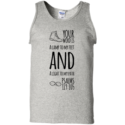 "Bible Verse Men 100% Cotton Tank Top - ""Psalm 119:105"" Design 20 (Black Font) - Meditate Healing Christian Store"