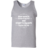 "Bible Verse Men 100% Cotton Tank Top - ""Psalm 119:105"" Design 1 (White Font) - Meditate Healing Christian Store"