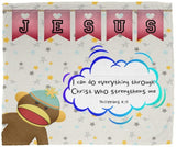Hope Inspiring Kids Snuggly Blanket - Christ Strengthens Me ~Philippians 4:13~ (Design: Monkey)