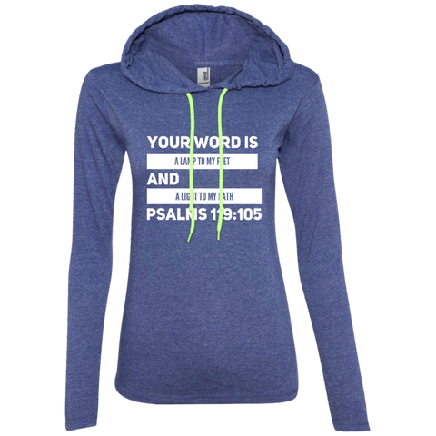 "Bible Verse Ladies' Long Sleeve T-Shirt Hoodie - ""Psalm 119:105"" Design 21 (White Font) - Meditate Healing Christian Store"