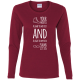 "Bible Verse Ladies' Cotton Long Sleeve T-Shirt - ""Psalm 119:105"" Design 20 (White Font) - Meditate Healing Christian Store"