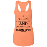 "Bible Verses Ladies Ideal Racerback Tank - ""Psalm 119:105"" Design 5 (Black Font) - Meditate Healing Christian Store"