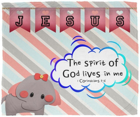 Hope Inspiring Kids Snuggly Blanket - Spirit Of God Lives In Me ~1 Corinthians 3:16~ (Design: Elephant)