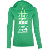"Bible Verse Ladies' Long Sleeve T-Shirt Hoodie - ""Psalm 119:105"" Design 6 (White Font) - Meditate Healing Christian Store"