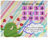 Cozy Plush Baby Milestone Blanket - God Is With Me Always ~Matthew 28:20~ (Design: Dinosaur)