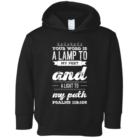 "Bible Verse Toddler Fleece Hoodie - ""Psalm 119:105"" Design 17 - Meditate Healing Christian Store"