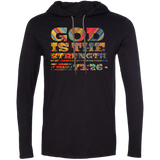 "Bible Verse Men Long Sleeve T-Shirt Hoodie - ""Psalm 73:26"" Design 3 - Meditate Healing Christian Store"