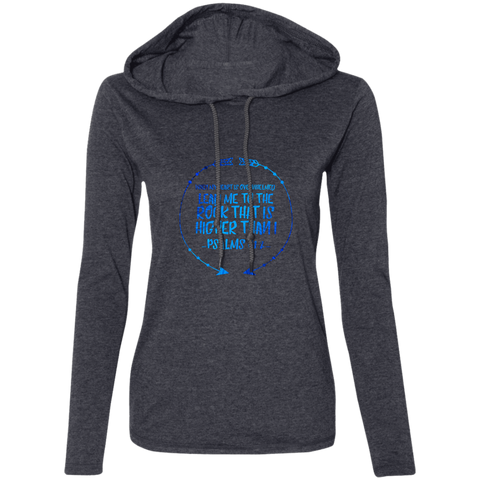 "Bible Verse Ladies' Long Sleeve T-Shirt Hoodie - ""Psalm 61:2"" Design 8 - Meditate Healing Christian Store"