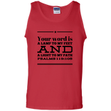 "Bible Verse Men 100% Cotton Tank Top - ""Psalm 119:105"" Design 10 (Black Font) - Meditate Healing Christian Store"
