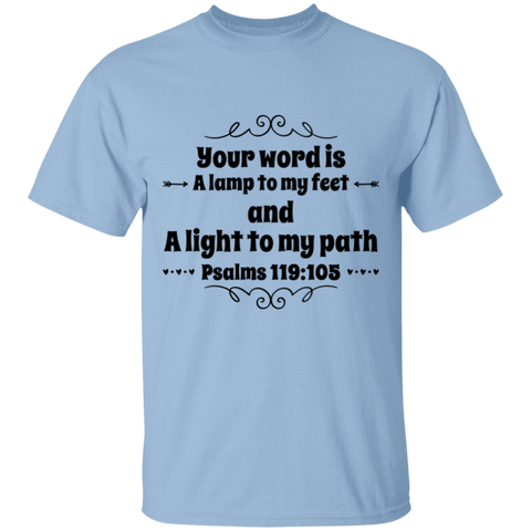 "Bible Verse Men 5.3 oz. T-Shirt - ""Psalm 119:105"" Design 1 (Black Font) - Meditate Healing Christian Store"