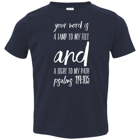 "Bible Verse Toddler Jersey T-Shirt - ""Psalm 119:105"" Design 9 (White Font) - Meditate Healing Christian Store"