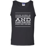 "Bible Verse Men 100% Cotton Tank Top - ""Psalm 119:105"" Design 11 (White Font) - Meditate Healing Christian Store"