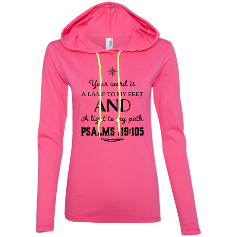"Bible Verse Ladies' Long Sleeve T-Shirt Hoodie - ""Psalm 119:105"" Design 5 (Black Font) - Meditate Healing Christian Store"