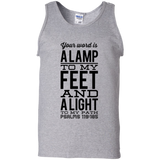 "Bible Verse Men 100% Cotton Tank Top - ""Psalm 119:105"" Design 4 (Black Font) - Meditate Healing Christian Store"