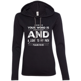 "Bible Verse Ladies' Long Sleeve T-Shirt Hoodie - ""Psalm 119:105"" Design 16 (White Font) - Meditate Healing Christian Store"