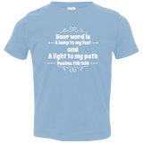"Bible Verse Toddler Jersey T-Shirt - ""Psalm 119:105"" Design 1 (White Font) - Meditate Healing Christian Store"