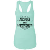 "Bible Verses Ladies Ideal Racerback Tank - ""Psalm 119:105"" Design 1 (Black Font) - Meditate Healing Christian Store"