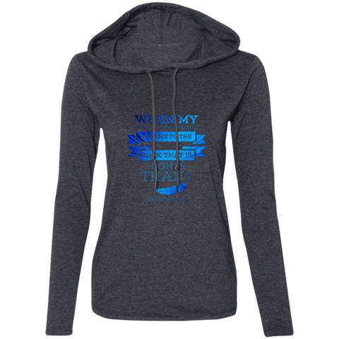 "Bible Verse Ladies' Long Sleeve T-Shirt Hoodie - ""Psalm 61:2"" Design 13 - Meditate Healing Christian Store"