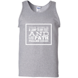 "Bible Verse Men 100% Cotton Tank Top - ""Psalm 119:105"" Design 13 (White Font) - Meditate Healing Christian Store"