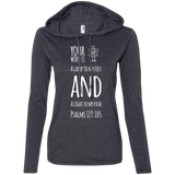 "Bible Verse Ladies' Long Sleeve T-Shirt Hoodie - ""Psalm 119:105"" Design 19 (White Font) - Meditate Healing Christian Store"