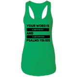 "Bible Verses Ladies Ideal Racerback Tank - ""Psalm 119:105"" Design 21 (Black Font) - Meditate Healing Christian Store"