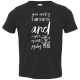 "Bible Verse Toddler Jersey T-Shirt - ""Psalm 119:105"" Design 18 (White Font) - Meditate Healing Christian Store"