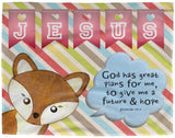 Hope Inspiring Kids Snuggly Blanket - God Has Great Plans For Me ~Jeremiah 29:11~ (Design: Fox)