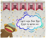 Hope Inspiring Kids Snuggly Blanket - God Is With Me ~Isaiah 41:10~ (Design: Monkey)