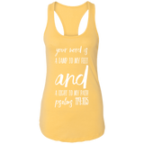 "Bible Verse Ladies Ideal Racerback Tank - ""Psalm 119:105"" Design 9 (White Font) - Meditate Healing Christian Store"