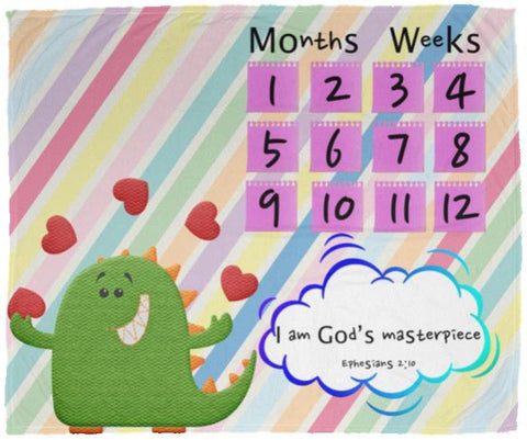 Cozy Plush Baby Milestone Blanket - I Am God's Masterpiece ~Ephesians 2:10~ (Design: Dinosaur)