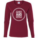 "Bible Verse Ladies' Cotton Long Sleeve T-Shirt - ""Psalm 119:105"" Design 8 (White Font) - Meditate Healing Christian Store"
