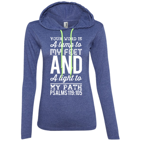 "Bible Verse Ladies' Long Sleeve T-Shirt Hoodie - ""Psalm 119:105"" Design 3 (White Font) - Meditate Healing Christian Store"