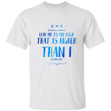 "Bible Verse Men 5.3 oz. T-Shirt - ""Psalm 61:2"" Design 11 - Meditate Healing Christian Store"