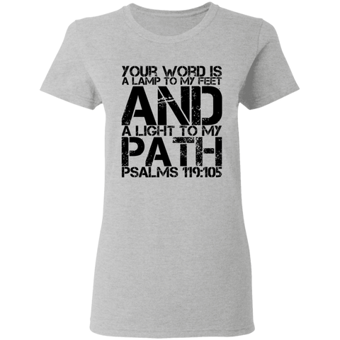 "Bible Verse Ladies' 5.3 oz. T-Shirt - ""Psalm 119:105"" Design 7 (Black Font) - Meditate Healing Christian Store"