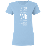 "Bible Verse Ladies' 5.3 oz. T-Shirt - ""Psalm 119:105"" Design 20 (White Font) - Meditate Healing Christian Store"