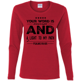 "Bible Verse Ladies' Cotton Long Sleeve T-Shirt - ""Psalm 119:105"" Design 16 (Black Font) - Meditate Healing Christian Store"