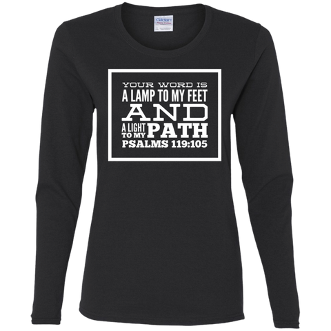 "Bible Verse Ladies' Cotton Long Sleeve T-Shirt - ""Psalm 119:105"" Design 13 (White Font) - Meditate Healing Christian Store"