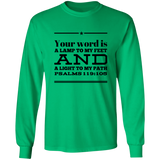 "Bible Verse Long Sleeve  Ultra Cotton T-Shirt - ""Psalm 119:105"" Design 10 (Black Font) - Meditate Healing Christian Store"