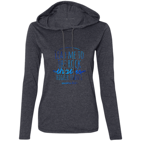 "Bible Verse Ladies' Long Sleeve T-Shirt Hoodie - ""Psalm 61:2"" Design 7 - Meditate Healing Christian Store"
