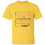 "Bible Verse Men 5.3 oz. T-Shirt - ""Psalm 73:26"" Design 20 - Meditate Healing Christian Store"