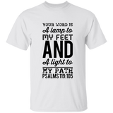 "Bible Verse Men 5.3 oz. T-Shirt - ""Psalm 119:105"" Design 3 (Black Font) - Meditate Healing Christian Store"