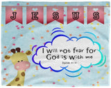 Hope Inspiring Kids Snuggly Blanket - God Is With Me ~Isaiah 41:10~ (Design: Giraffe 2)