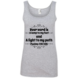"Bible Verse Ladies' 100% Ringspun Cotton Tank Top - ""Psalm 119:105"" Design 1 (Black Font) - Meditate Healing Christian Store"
